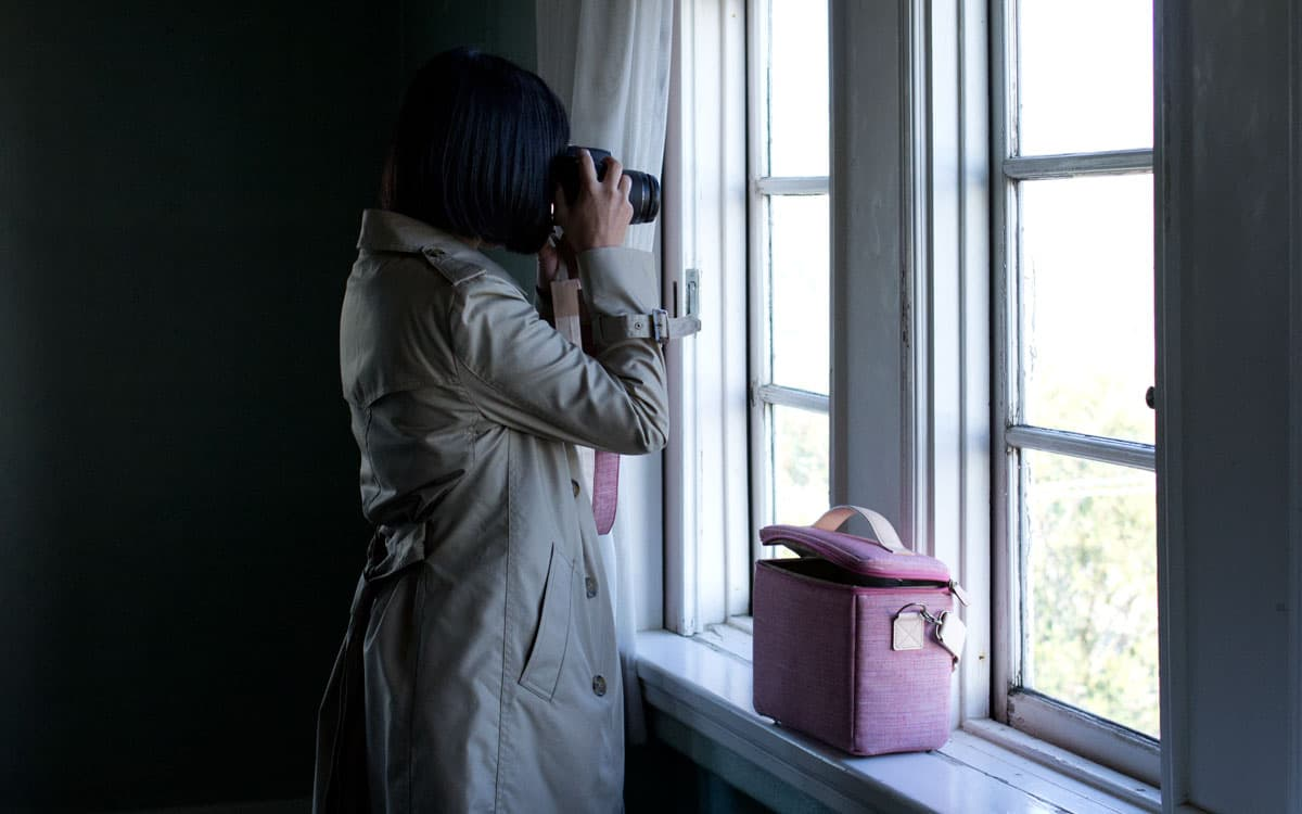 カメラバッグハコ型遠州綿紬さくら