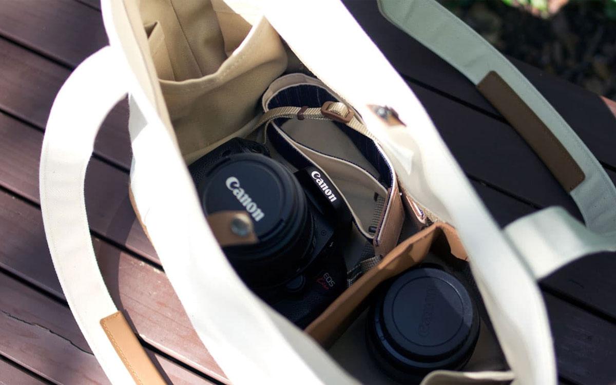 磐田8号帆布カメラトートバッグ ヴィーガンレザー