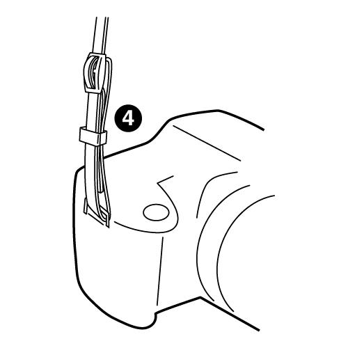 4.内側に通したストラップ取付ヒモをサルカンに通します。
